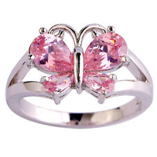 Free Ship Butterfly Pink Topaz Women Saucy Gems Silver Ring Size 6 7 8 9 10 11