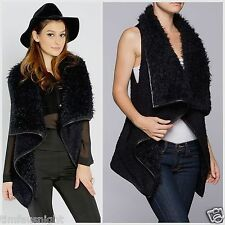 LOVE TREE BOHO HIPPIE PLUSH FUR SHEARLING BOUCLE VEST COZY WARM FUR  BLACK