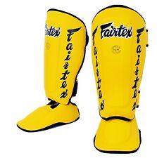 Fairtex Twister Shin Guards SP7 Muay Thai Detachable In Step Shin Pads Yellow
