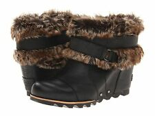 NEW - Women's SOREL Joan Of Arctic Wedge Ankle Boots - Black - 1506391010
