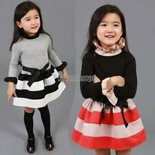 Childen Girls Clothing Long Sleeve Striped Pattern Dress with Belt 3-11Y EP98