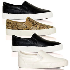 D1Y Womens Shoes Ladies Plimsolls Elasticated Thick Sole Loafers Boat New Size