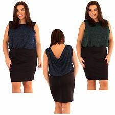 New Ladies Plus Size 2 in 1 Sparkle Cowl Back Party Dress 18-24