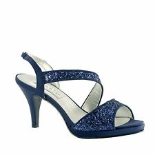 Royal Blue Silver Gold Glitter Reagan Kitten Heel Formal Prom Bridal Sandal Shoe