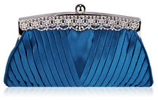 Women Ladies Designer Clutch With Crystal Decoration Ruched Satin n LSE00111
