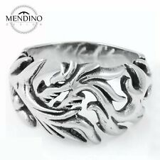 316L Stainless Steel Ring Band Men Mens Biker Silver Dragon