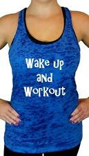 Womens Workout Tank Top, Workout Clothes, Wake Up and Work Out Burnout Racerback