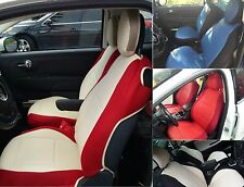 LEATHERETTE n SYNTHETIC Two Front Custom Car SEAT COVERS fit Fiat 500 (2007-...)