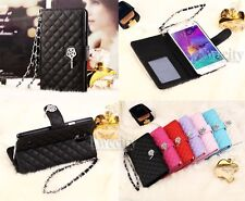 Luxury Deluxe Grid Flip Handy Wallet Stand Case Cover For Samsung Galaxy Note 4