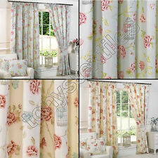 """BIRDCAGE FLORAL CHIC BUTTERFLY 3"""" TAPE TOP FULLY LINED PAIR READY MADE CURTAINS"""
