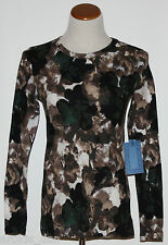 Simply Vera VERA WANG~Woman's Brown/White Long Sleeve Knit Top~Size XS ~NWT