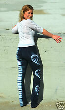 New HAPPY TIE DYE YOGA PANTS Black & White 3 Hearts Lattice AMERICAN APPAREL