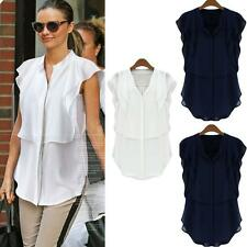 Korean Women Blouse Chiffon Stand Collar Short Butterfly Sleeve Solid Color Tops
