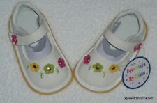 New Baby Girl White Leather Squeaky Shoes Toddler Sz 7 8 Run Small + X Squeakers