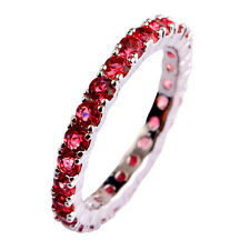 Great Band Nice Ruby Spinel Women Gemstones Silver Ring Size 6 7 8 9 10 11 12 13