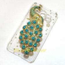 New Handmade Rhinestone 3D Bling peacock Clear back case cover For Samsung phone