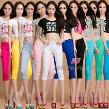 Women's Casual Pocket Skinny Zipper Slim Stretchy Cropped  Pencil Trousers Pants
