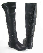 Black Pirate Corset Over the Knee Riding Boots Womens