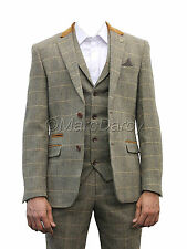 Mens Marc Darcy Designer Brown Tweed Herringbone Checkered Vintage 3 Piece Suit
