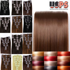 New Fashion Clip In 100% Remy Human Hair Extensions Full Head Cheap Price US F11