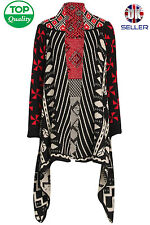 LADIES AZTEC STRIPE KNITTED WATERFALL CARDIGAN JACKET CAPE JUMPER COAT WRAP NEW