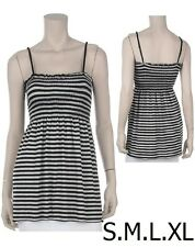 BLACK / GRAY Striped Adj. Straps Smock Babydoll Tunic Dress Top Sizes S M L XL
