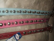 STUDDED SPIKED REAL LEATHER DOG COLLAR OMNIPET USA PINK BABY BLUE AND RED