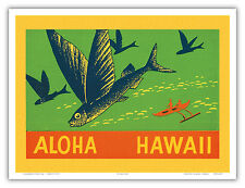 Flying Fish Malolo Aloha Hawaii Vintage Crate Label Art Poster Print