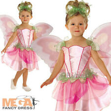 Springtime Pink Fairy Girls Fancy Dress Fairies Childs Kids Costume + Wings New