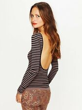 NEW Free People Intimately Stripped Taupe Low Back Seamless Top Sz XS/S-M/L $68