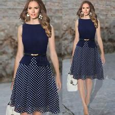 Fashion Women's Chiffon Polka Dot Back Zipper Crew Neck Sleeveless Party Dress