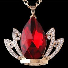 Womens 9K Yellow Gold Filled AAA CZ Crystal Crown Shape Necklace & Pendant J527