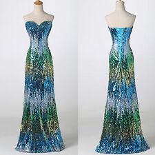 NEW YEAR~SEQUIN Bodycon Long Masquerade Gowns Evening Prom Party Dress Plus Size