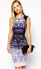 NewWT Karen Millen ombre lace print purple bodycon fitted dress UK 10 12 14