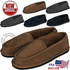 New Mens Black House Slippers Corduroy Moccasin Slip-on Men Shoes Male Size 7-14
