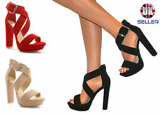 WOMENS LADIES STRAPPY PEEP TOE PLATFORM CHUNKY BLOCK HIGH HEEL SHOES SANDALS 3-8