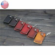 Card Pouch Wallet Car Key Holder 7 Clips Mens Women Genuine Leather Notes Purse