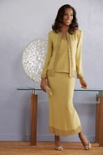 Shaffon 3 Piece Skirt Jacket Dress Set Gold New 12 OR 26W AShro
