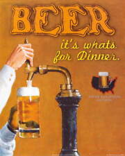 BEER IT'S WHAT'S FOR DINNER Funny Vintage Retro Style METAL SIGN PLAQUE wall art