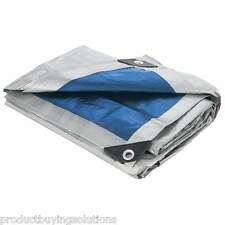 All Purpose Heavy Duty Blue/ Silver Canopy Tarp Reinforced Eyelets Weather Proof