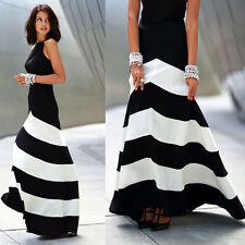 Fashion Women Striped Sleeveless Long Maxi Casual Party Evening Cocktail Dress