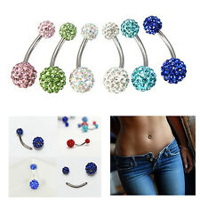 NEW Crystal Rhinestone Belly Button Bar Ring Barbell Ball Body Piercing Jewelry