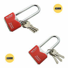 Iron Padlock Outdoor Security Long Shackle Chrome Plated 40mm-50mm with 3 Keys