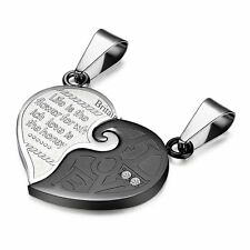 2PCS His and Hers Matching Stainless Steel Heart Shape Pendant  Chain Necklace
