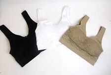 NEW LADIES SEAMLESS LACE PADDED CROP TOP COMFORT BRA SPORTS VEST STRETCH