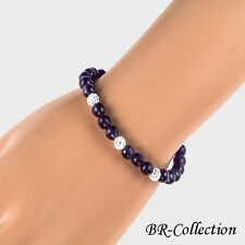 Bracelet Beaded with Amethyst or Onyx with Crystal Glass