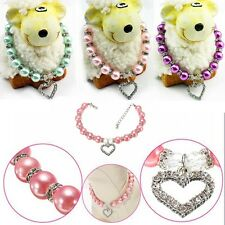 Dog Pet Pink Crystal Heart Jewelry Pearls Necklace Collar Charm Pendant