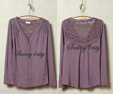 NEW Anthropologie Quinn Henley By Meadow Rue Cute & Fun top with lots of detail