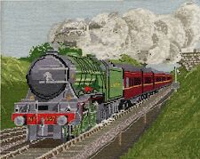 Flying Scotsman steam train counted cross stitch kit or chart 14s aida
