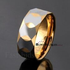 Gold Multi-Faceted Prism Cut Design Tungsten Carbide Band Wedding Ring 9mm
